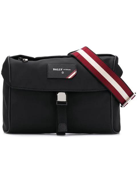 Bally Striped Strap Bum Bag In Black