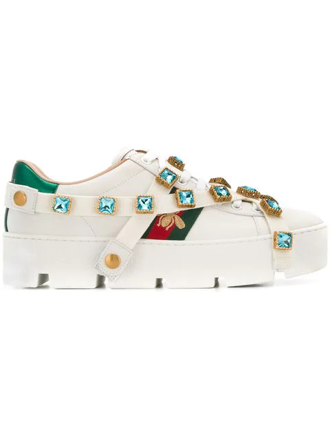 Gucci Crystal Embellished Bee Sneakers In 9065 White/Red/Green/Gold