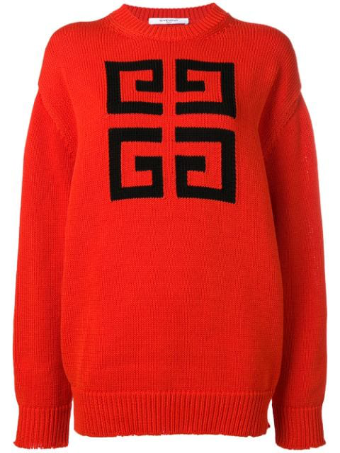 Givenchy 4G Red Logo-Intarsia Cotton Jumper In 606 Red Black