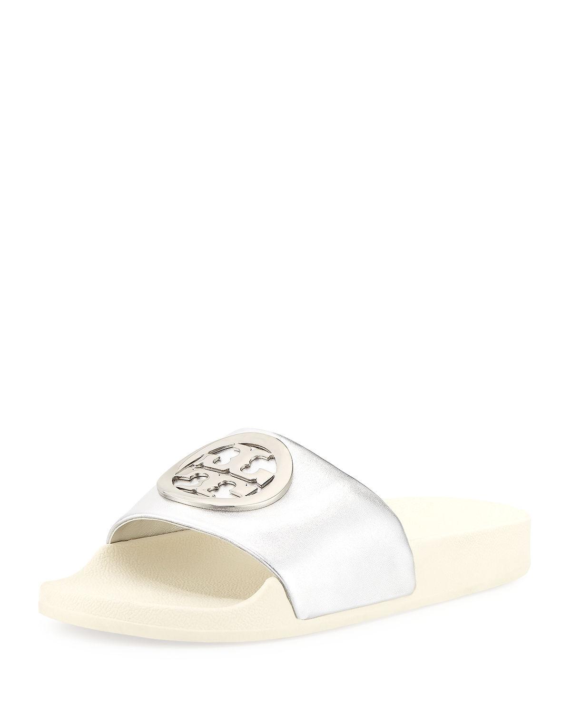 3e0d76373fec Tory Burch Lina Metallic Leather Pool Slide Sandals In Silver