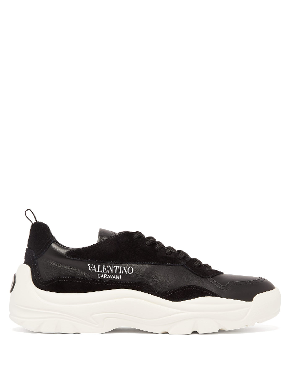 Valentino Garavani Gumboy Panelled Leather And Suede Low-top Trainers In Black
