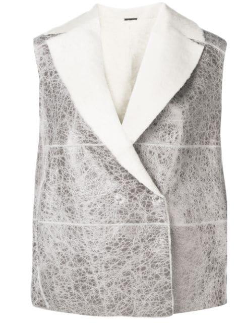 Fabiana Filippi Shearling Waistcoat In Grey