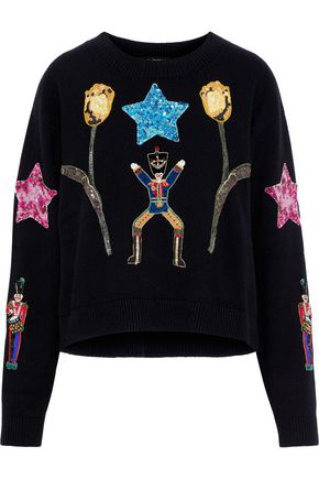 Dolce & Gabbana Woman Embellished Cashmere Sweater Black