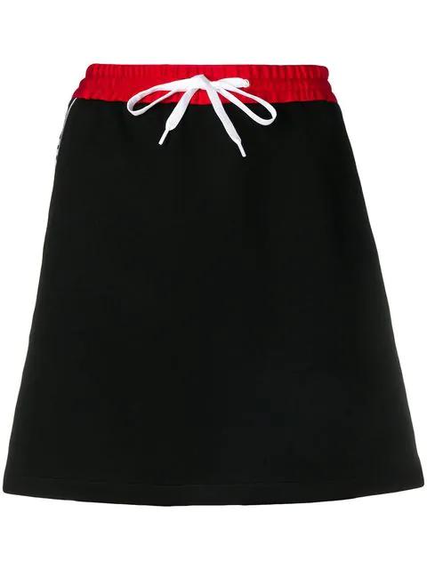 Miu Miu Cotton-blend Jersey Miniskirt In F0002 Black