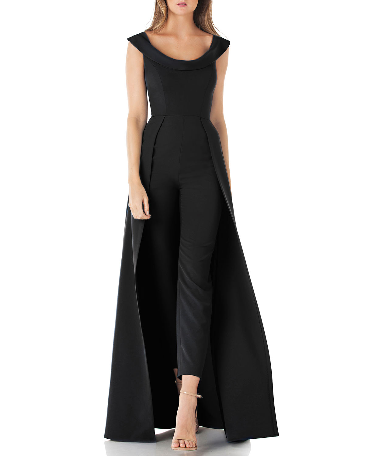 1c4ed70ad2d Kay Unger Scoop-Neck Cap-Sleeve Jumpsuit With Skirt Overlay In Black ...