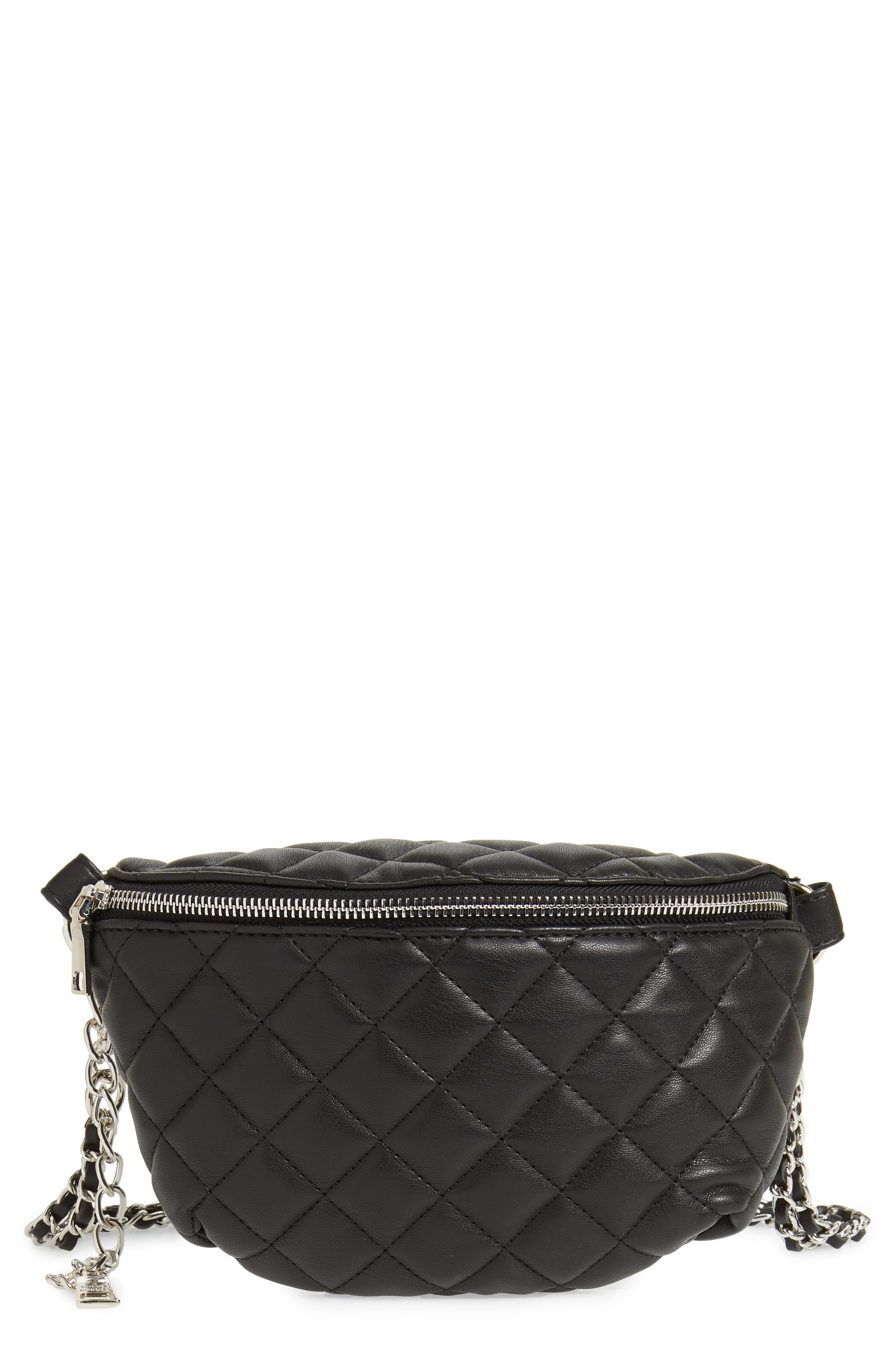 ee6565f4288 Steve Madden Quilted Faux Leather Fanny Pack - Black In Black Silver ...