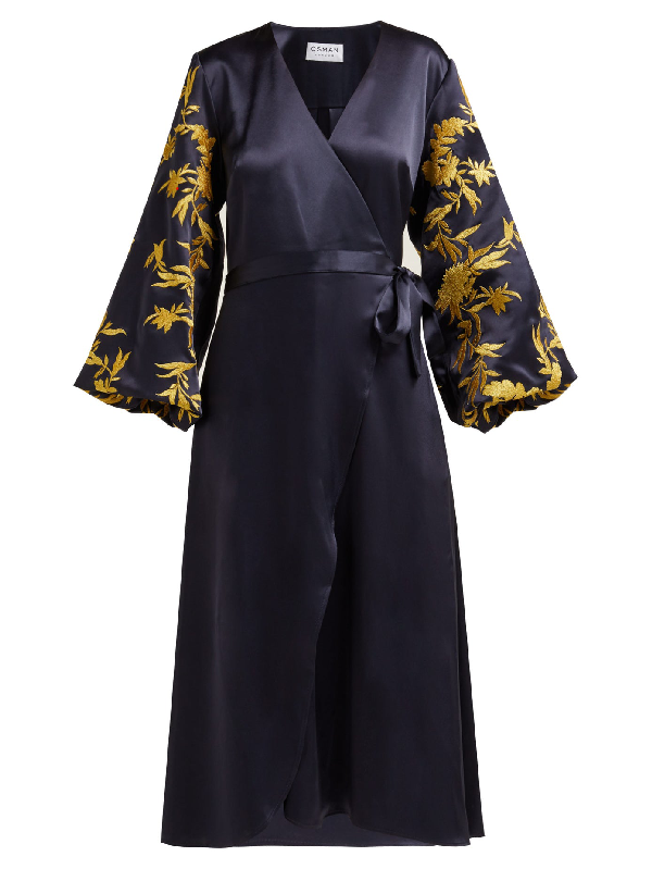 Osman Embroidered Satin Wrap Dress In Navy Gold