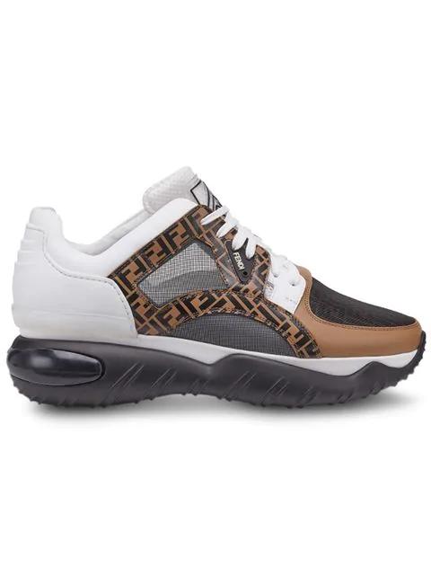 Fendi Multicoloured Ff Logo Print Chunky Leather Runner Sneakers - 黑色 In Brown
