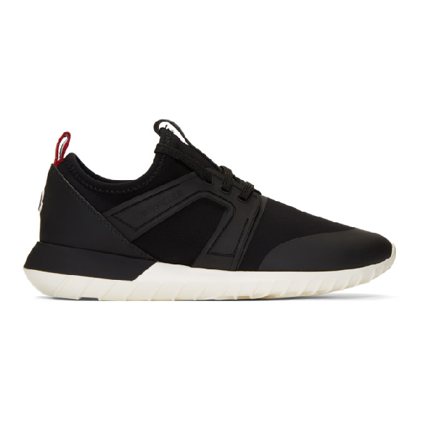 Moncler Meline Neoprene And Leather Low-Top Trainers In 999 Black