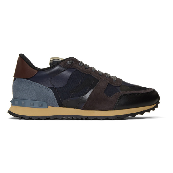 Valentino Men's Rockrunner Camo-Print Sneaker, Blue, Blue Camo In M14Marinena