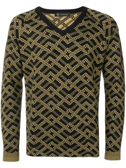 Versace Printed Knit Sweater In Black