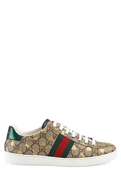 Gucci New Ace Golden Bee-Embroidered Canvas Trainers In Beige