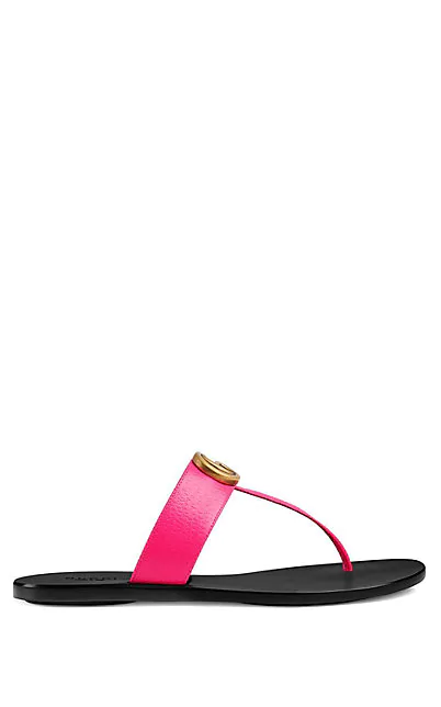 Gucci Women's Marmont Leather Thong Sandals In Md. Pink