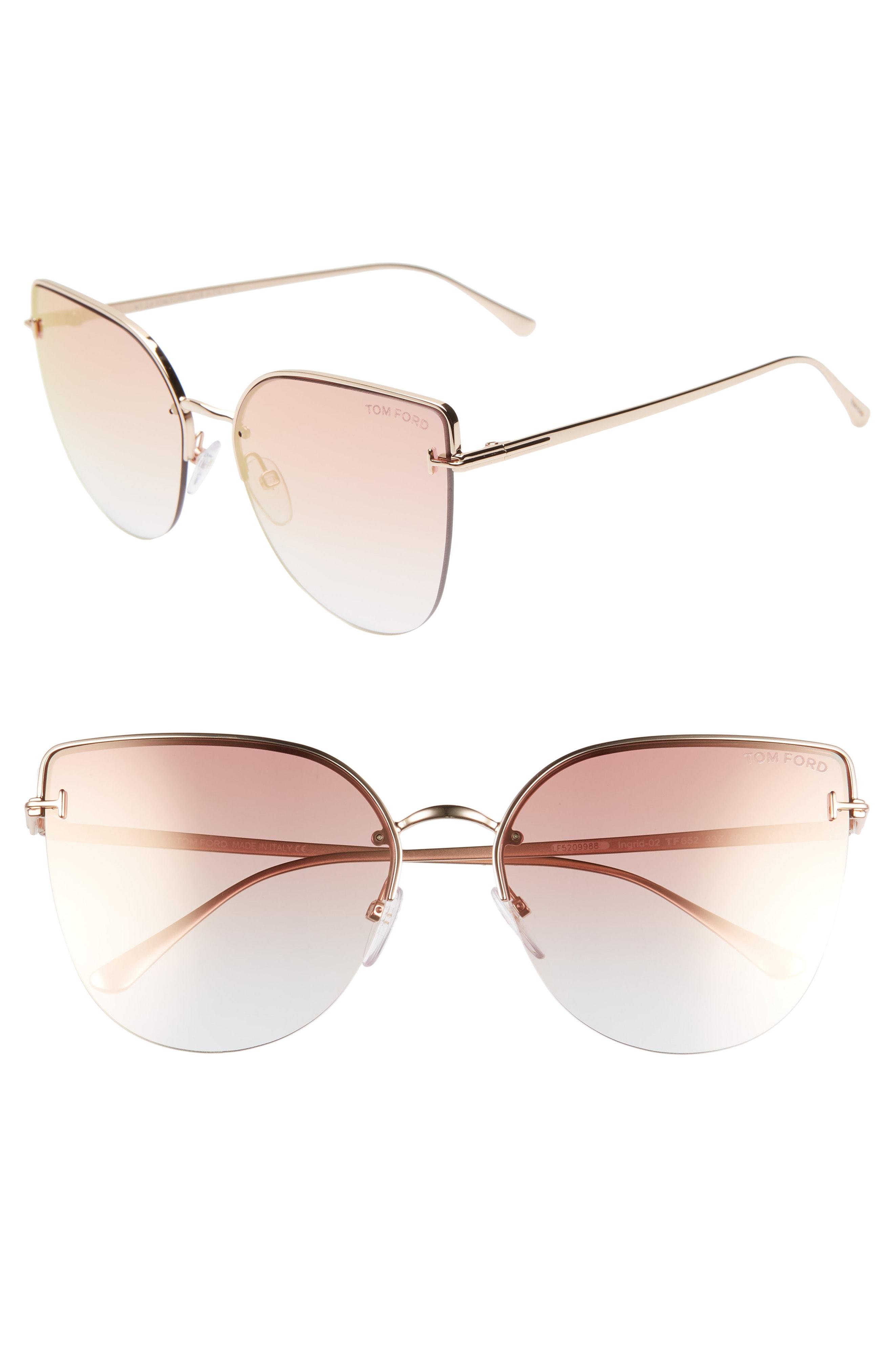 f931fa9c644d Tom Ford Ingrid 60Mm Cat Eye Sunglasses - Rose Gold  Pink W Red Mirror