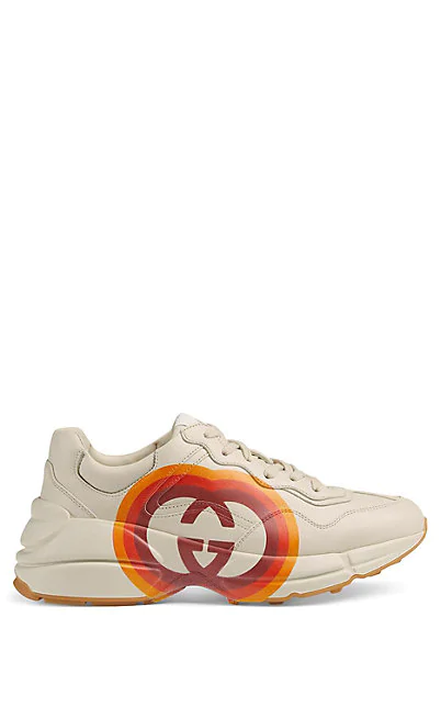Gucci Neutral Women's Rhyton Sneakers With Interlocking G And Heart In 9022 White