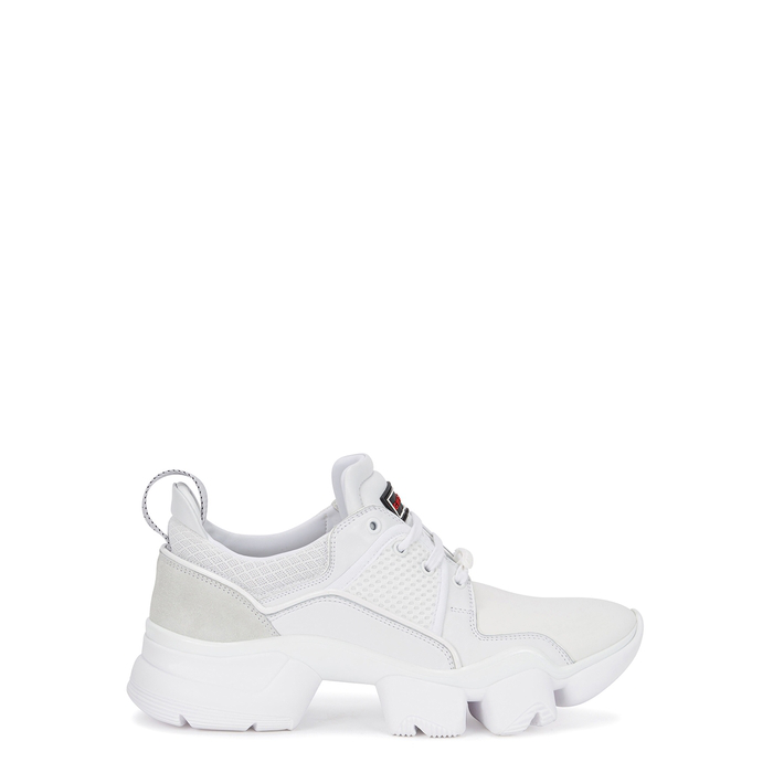 Givenchy Jaw Neoprene, Suede, Leather And Mesh Sneakers In 100 White
