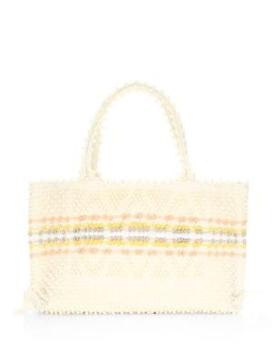 Antonello Tedde Medium Signature Rombi Diamond Knit Tote Bag In Cream