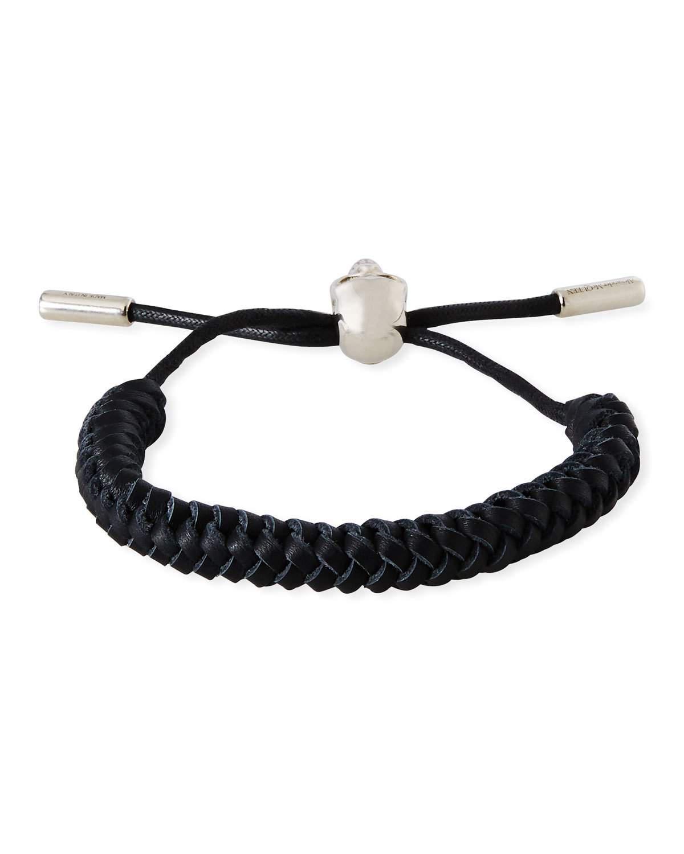 Alexander Mcqueen Woven Skull Bracelet In Black
