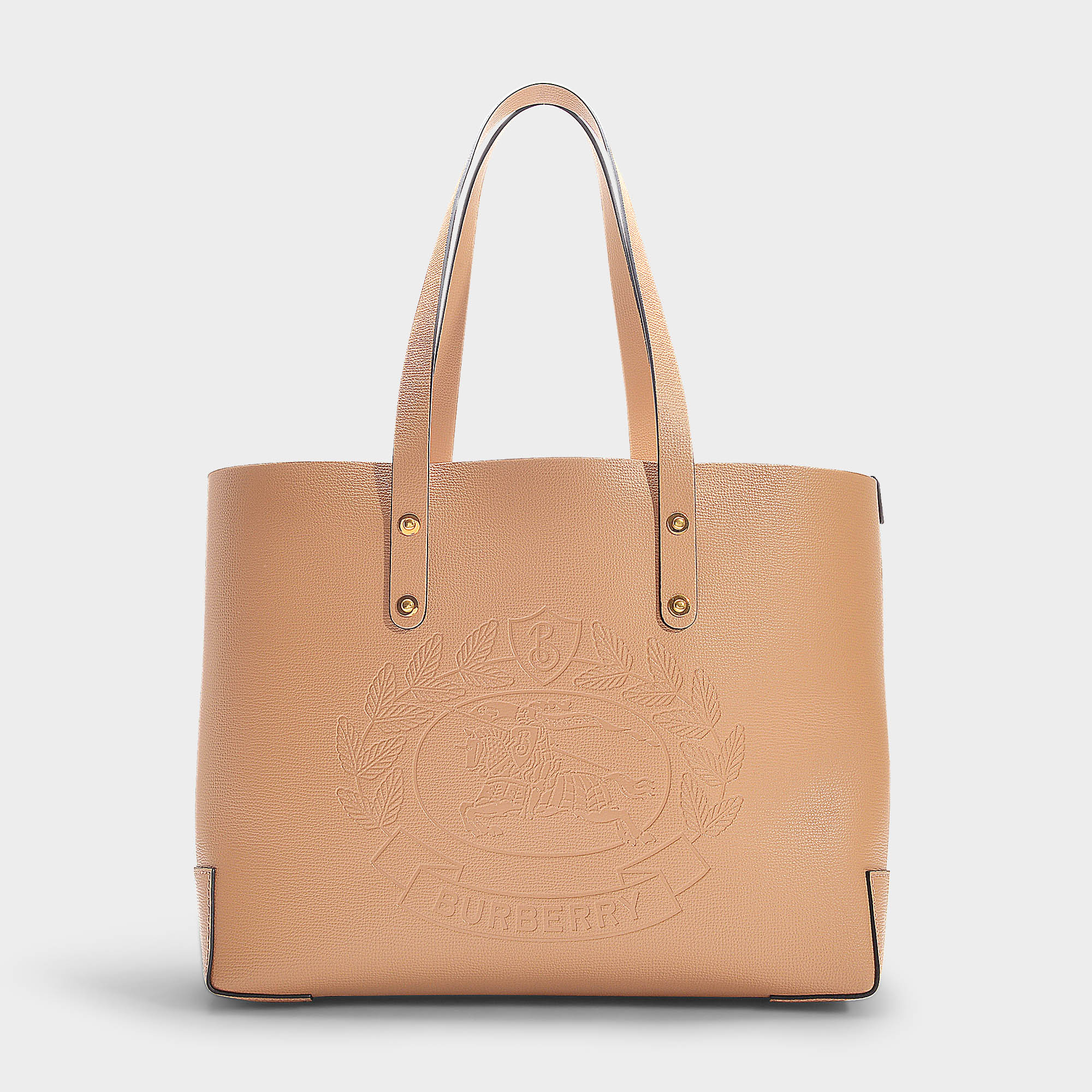 63b2c48e76c5 Burberry Small Embossed Crest Leather Tote - Beige In Neutrals ...
