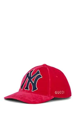 77412be7407e0 Gucci Men s Velvet Baseball Cap With Ny Yankees Applique In Pink ...