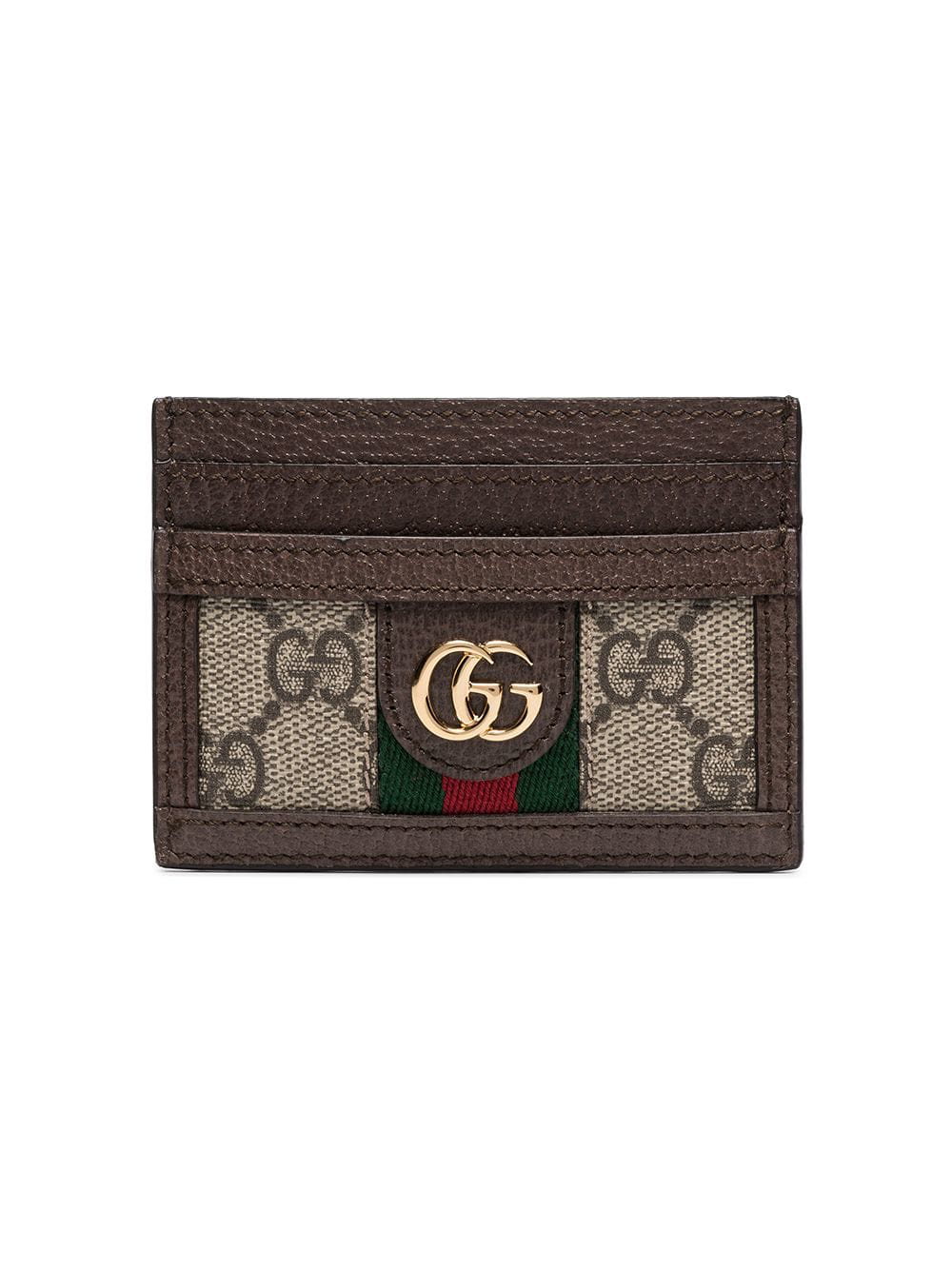 5e106aead3a Gucci Ophidia Textured Leather-Trimmed Printed Coated-Canvas Cardholder In  Neutral