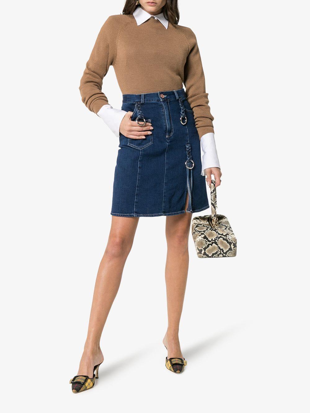 20a96577f634c See By ChloÉ Braided Denim Skirt In Blue   ModeSens