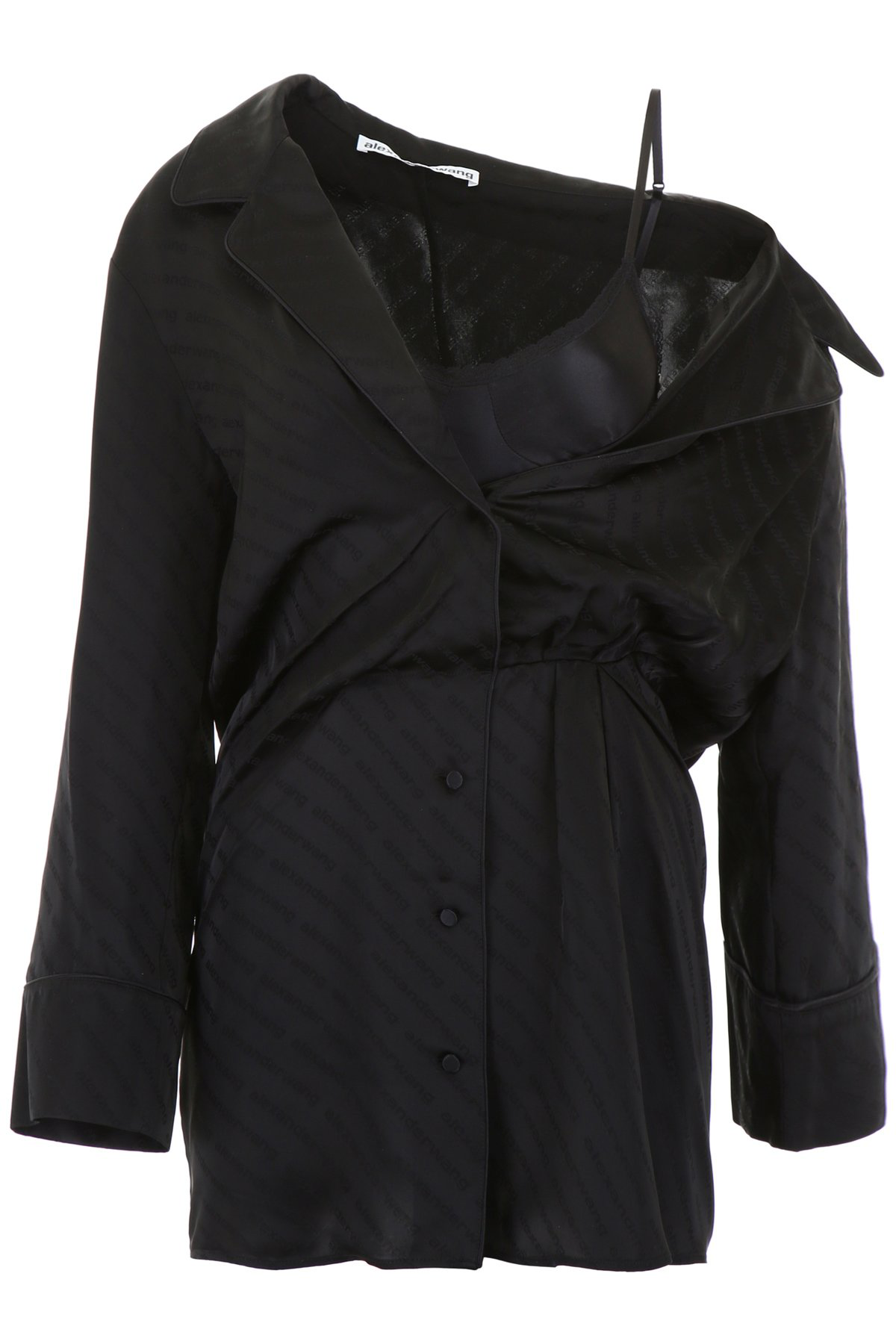 7701b0671e1 Alexander Wang Draped Lace-Trimmed Silk-Blend And Satin-Jacquard Mini Dress  In