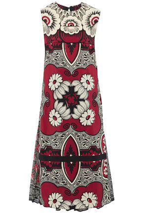 Valentino Woman Printed Silk Crepe De Chine Midi Dress Crimson