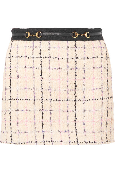 Gucci Embellished Cotton-Blend BouclÉ-Tweed Mini Skirt In White