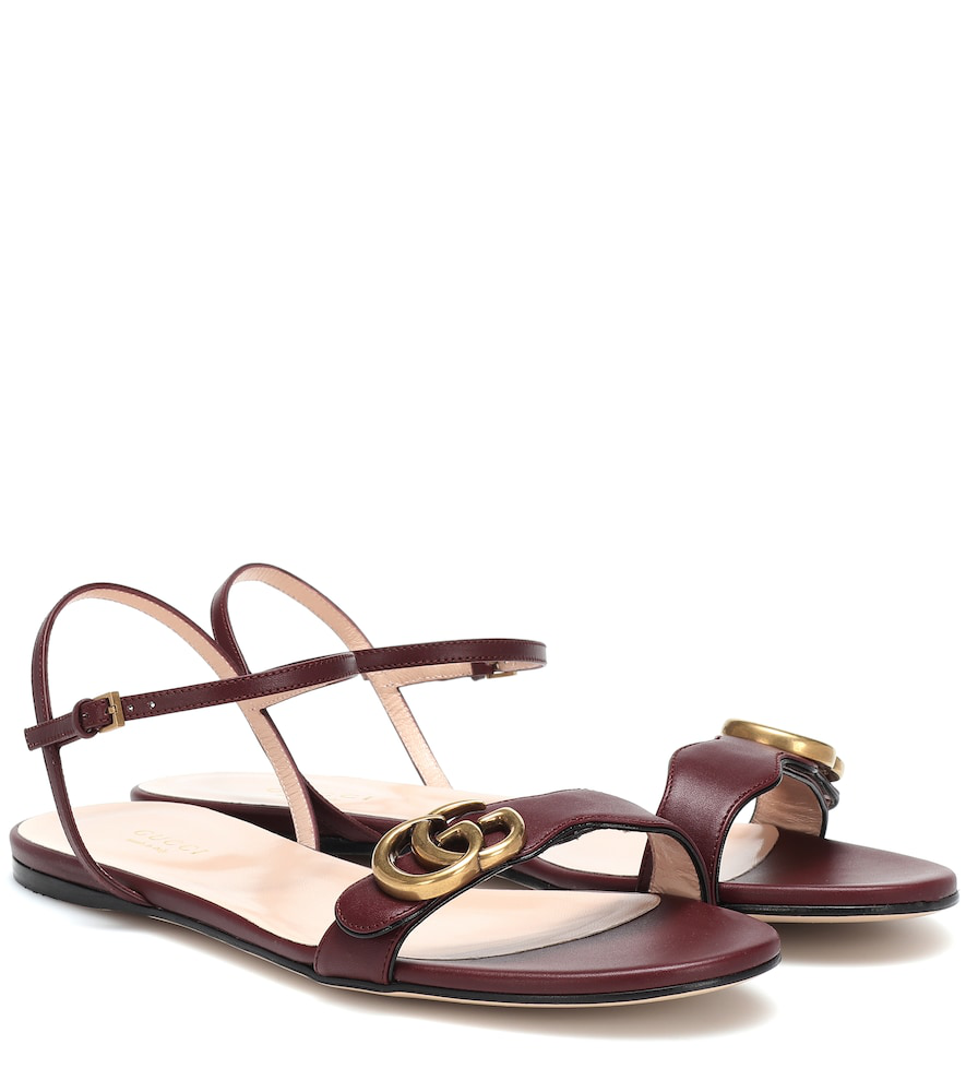 Gucci Marmont Gg Leather Sandals In Red