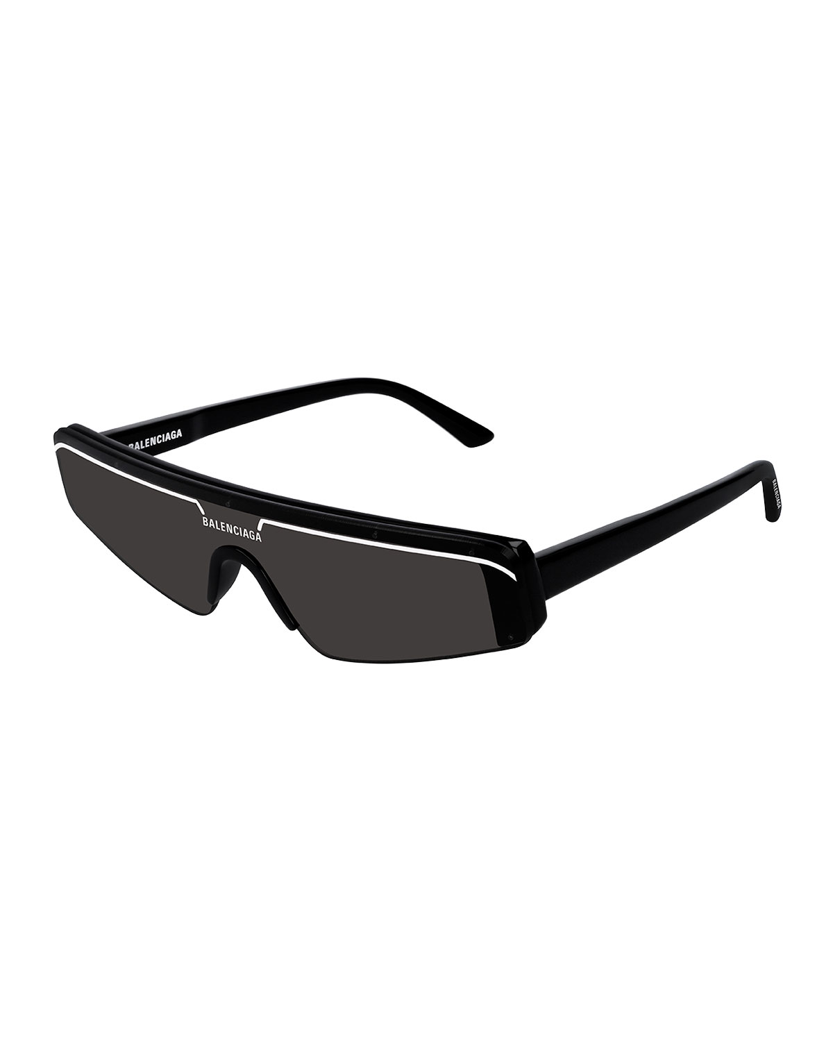 Balenciaga Ski Rectangle-Frame Enamelled Acetate Sunglasses In Black