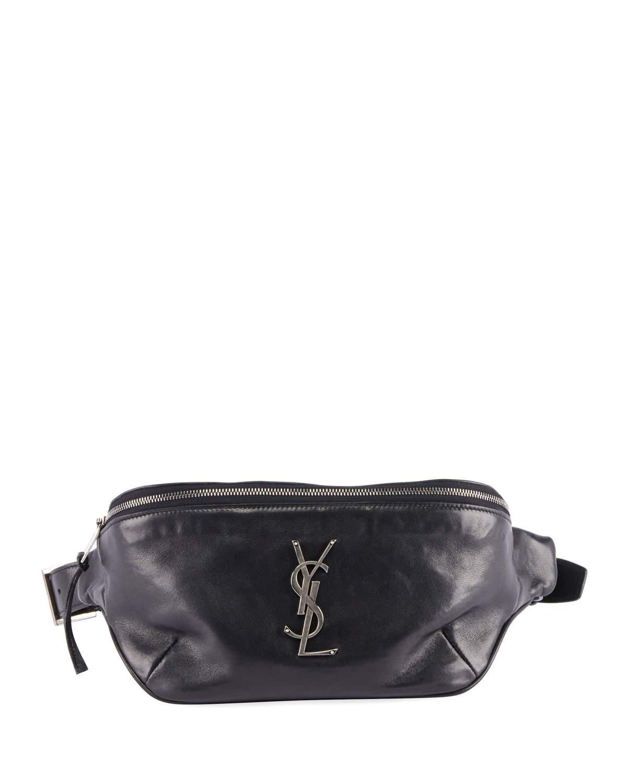 4aa79349c00 Saint Laurent Ysl Monogram Curved Zip-Top Belt Bag In Black | ModeSens
