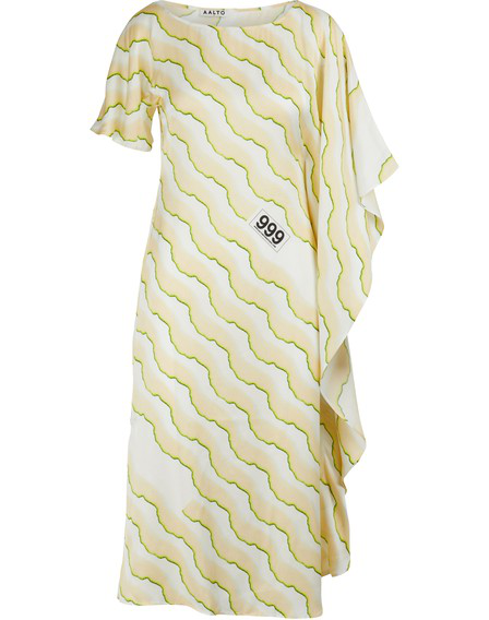 Aalto Asymmetric Dress In Print Cream