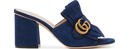Gucci Gg Mid-Heel Fringed Marmont Mules In Blue In Navy