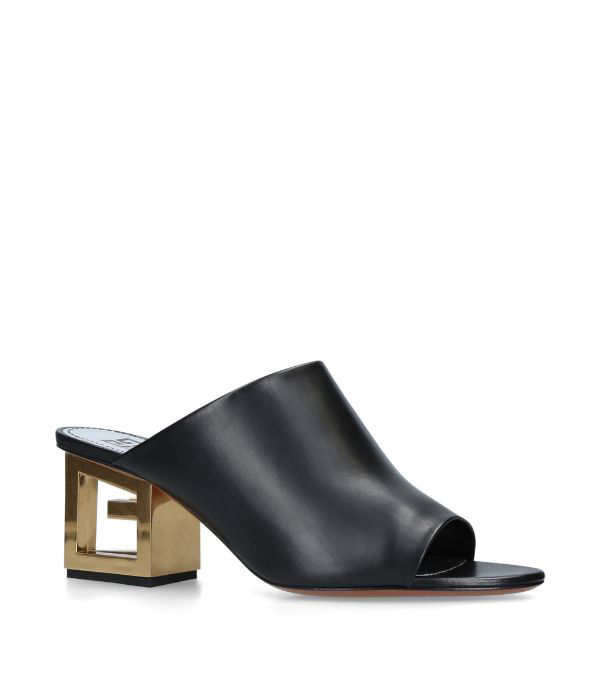 Givenchy Triangle Open-toe Mules In Black