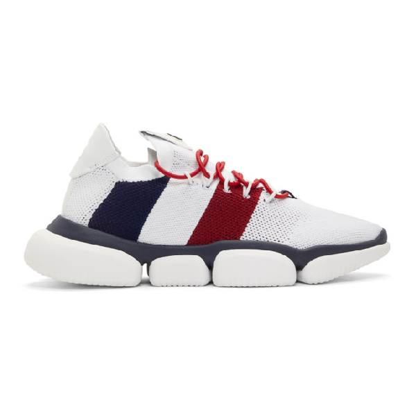 Moncler Red Blue And White Sneakers In Mesh And Technical Fabric In 002.white