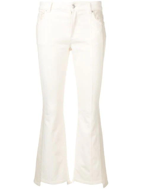 Alexander Mcqueen Cropped Flared Jeans In White