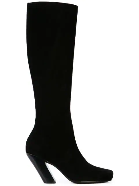 Ann Demeulemeester Camoscio Knee High Boots In Black