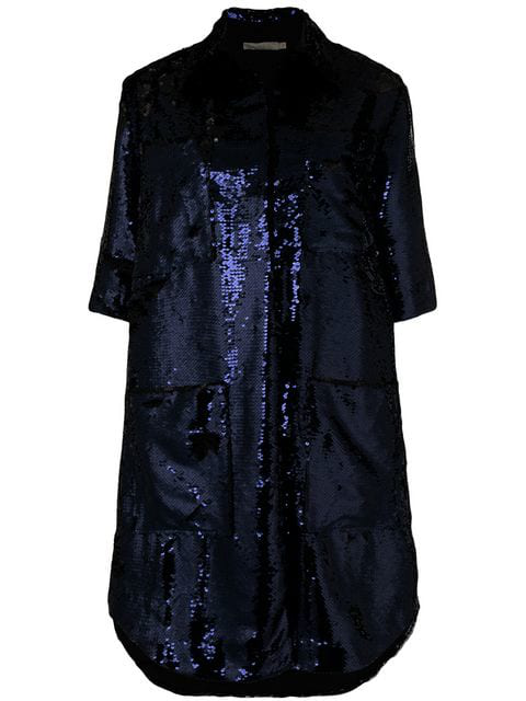 Amen 3/4 Sleeves Sequin Coat In Blue