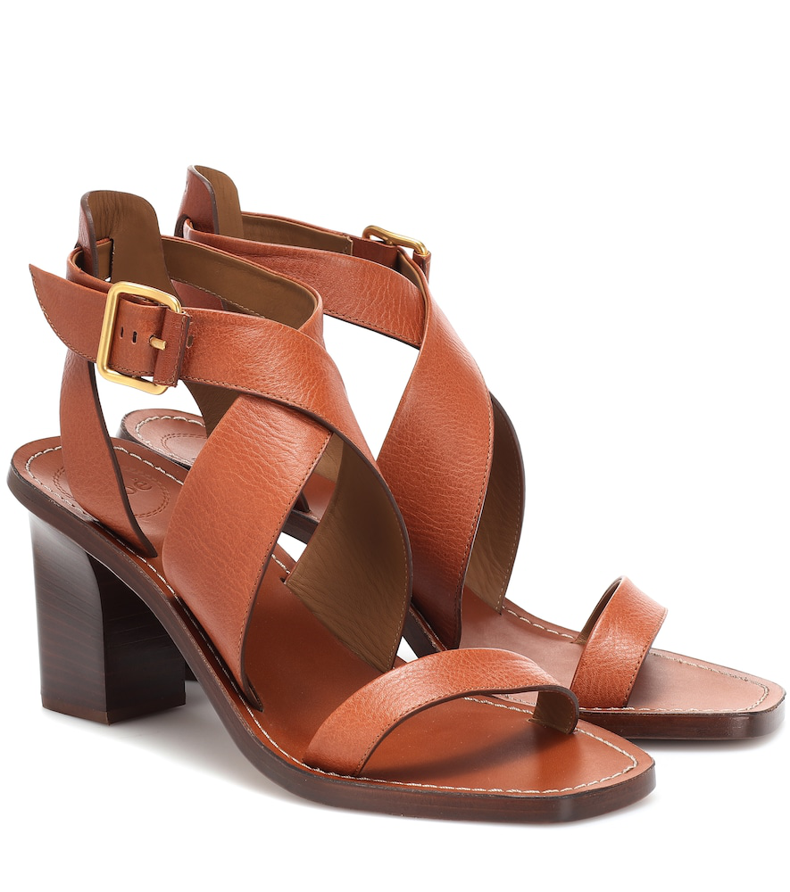 Chloé Leather Virginia In Strappy TanModesens Sandals Heel Block FK3lcuJT1