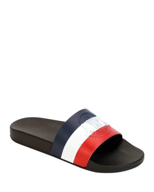 9823bd8b2526 Moncler Basile Logo-Print Striped Leather Slides - Midnight Blue ...