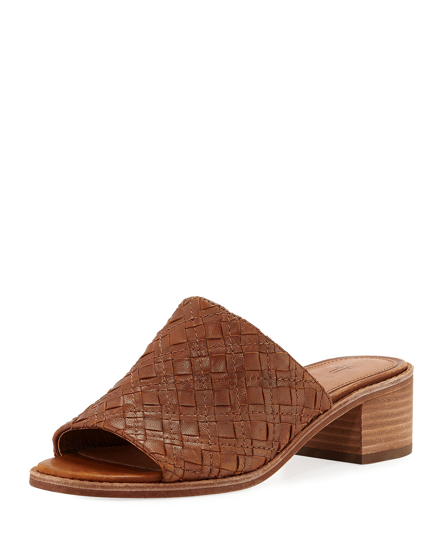 6f22bf298eb4c Frye Women's Cindy Woven Leather Block Heel Sandals In Cognac | ModeSens