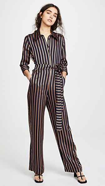 f791ad6e44be M.I.H Jeans Dexy Belted Striped Jacquard Jumpsuit In Navy