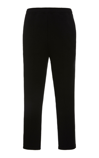 Prada Striped Cropped Cotton Sweatpants In Black