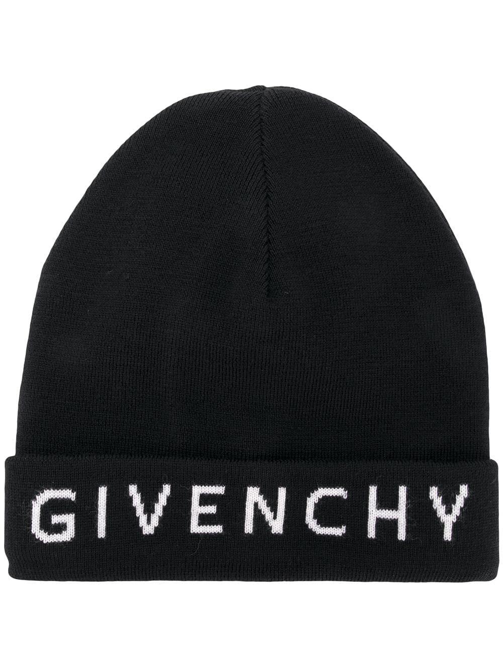 aae54457ddd Givenchy Logo Intarsia Wool Beanie Hat In Black