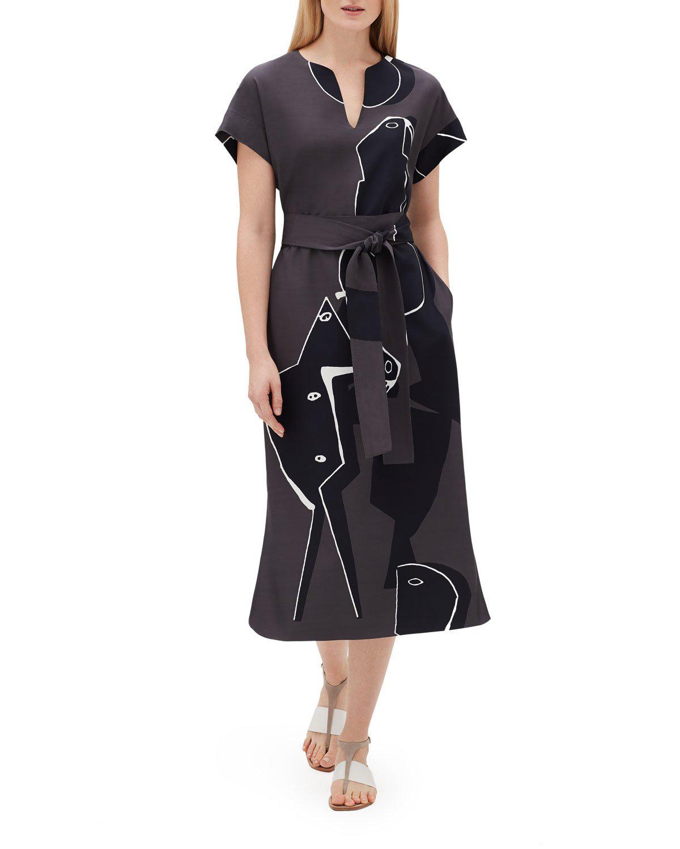 4ecc4e37 COSIMIA PORTRAIT-PRINT SHORT-SLEEVE BELTED DRAPE CLOTH DRESS. Lafayette 148  New York