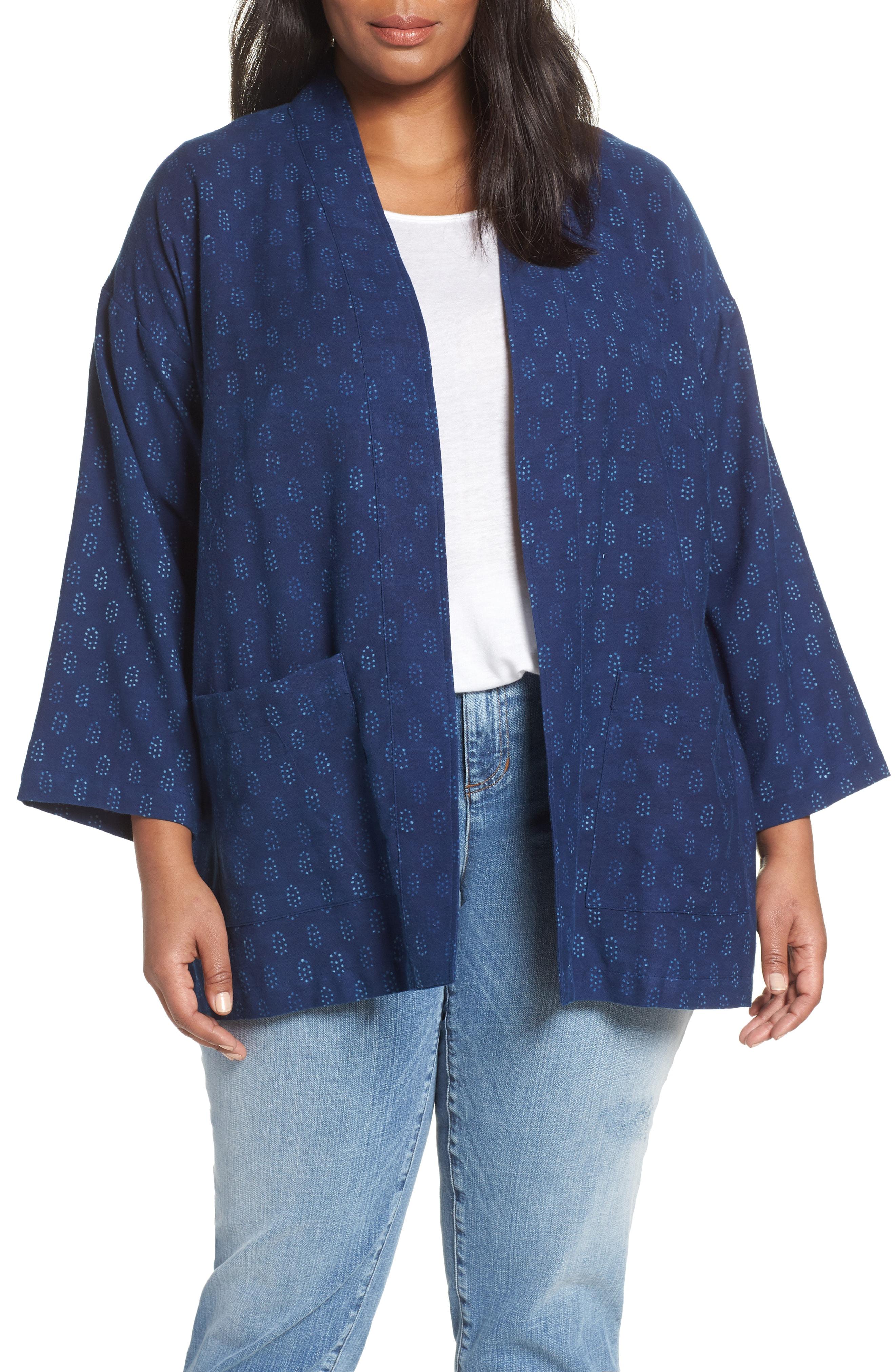 7368031cd02 Eileen Fisher Plus Size Block-Print Long-Sleeve Organic Cotton Kimono  Jacket In Denim