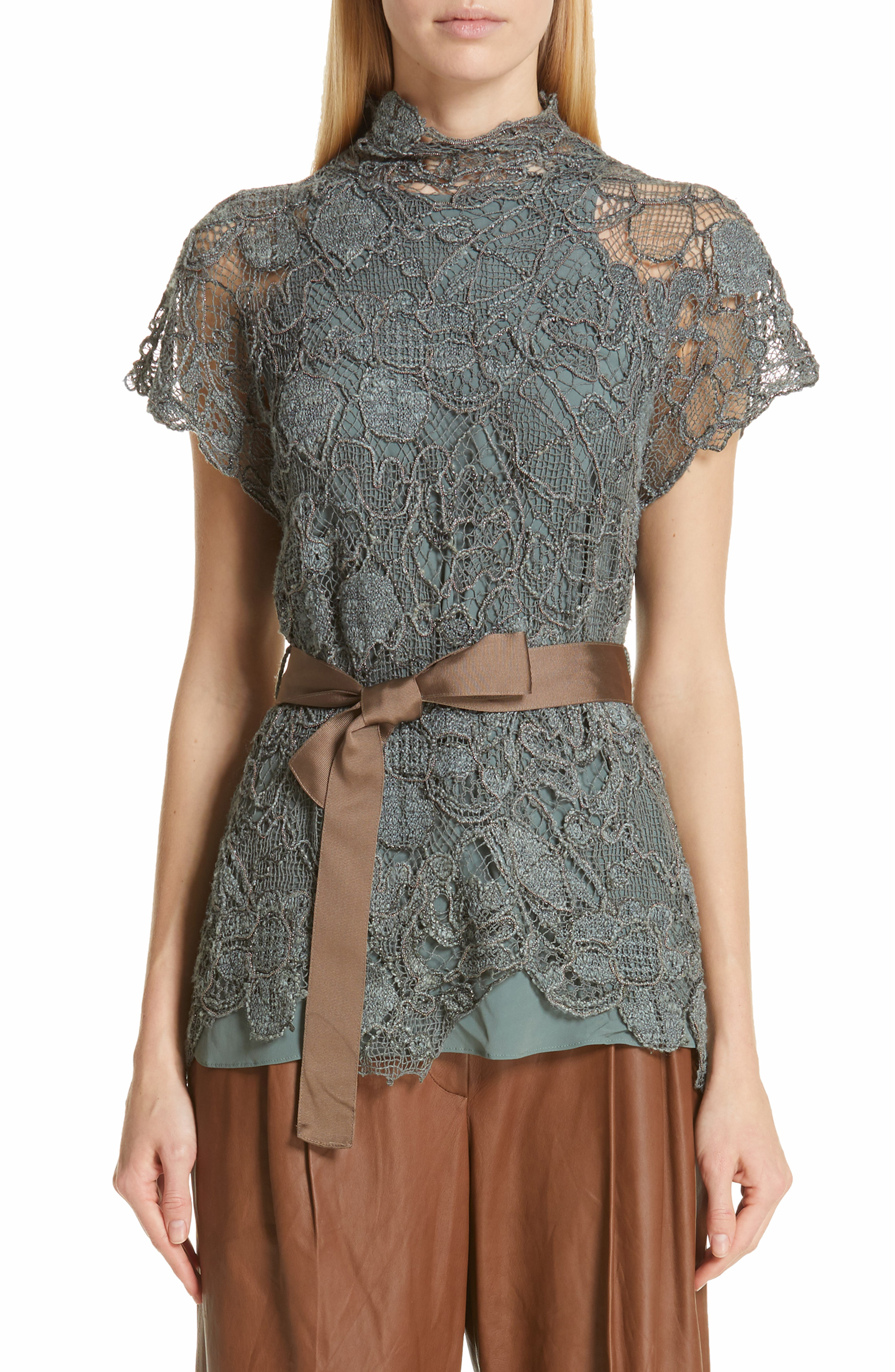 Brunello Cucinelli Floral-Embroidered Lace Mock-Neck Blouse In Sage