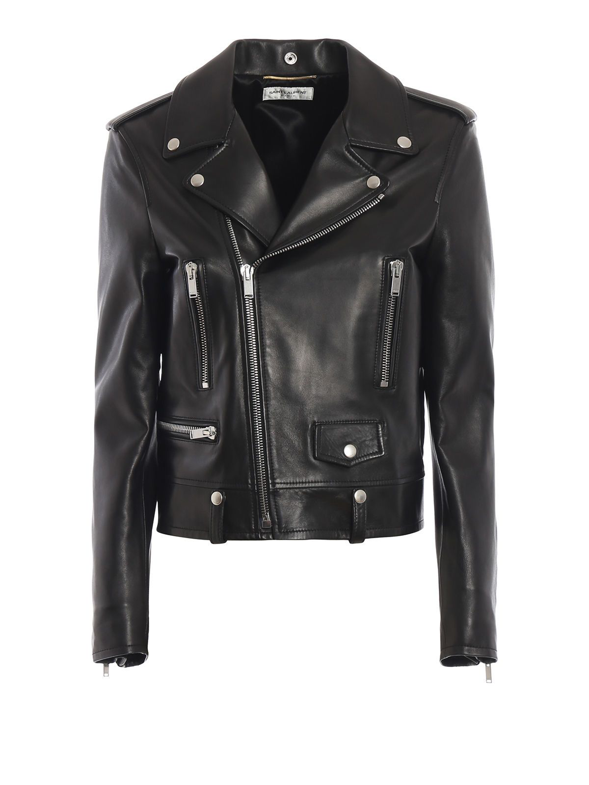 c9dbc642138 Saint Laurent Classic Calfskin Leather Moto Jacket With Star Lining In Black