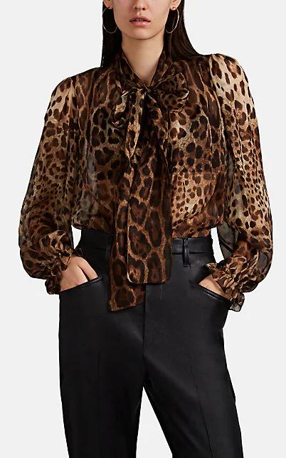Dolce & Gabbana Pussy-Bow Leopard-Print Silk-Chiffon Blouse In Multi
